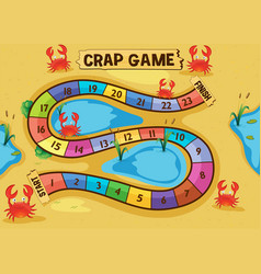 Boardgame template with crabs on the sand vector