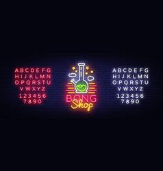 bong shop neon sign logo design template for shop vector image