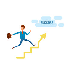 businessman running to success on growing chart vector image