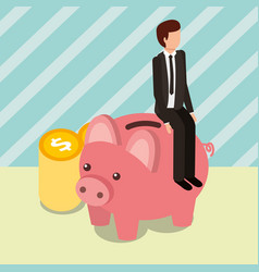Businessman sit on piggy bank and pile coins money vector