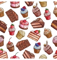 Cakes cupcakes muffins Patisserie pattern vector image