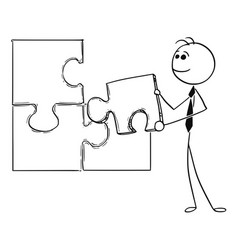 cartoon of business man holding jigsaw puzzle vector image