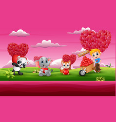 cartoon valentines day celebration in a pink garde vector image