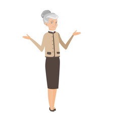 caucasian confused business woman with spread arms vector image