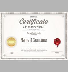 Certificate achievement retro design template vector