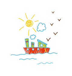 Childish drawing ship in sea vector