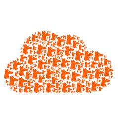 Cloud figure fox head icons vector