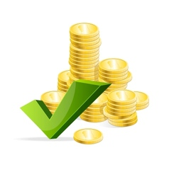 coins stack and check mark vector image