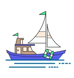 Cool line art flat design boat web icon vector image