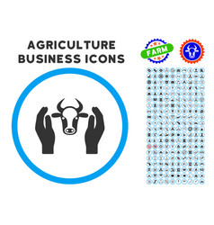 cow head care hands rounded icon with set vector image