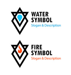 creative signs of fire and water with captions vector image