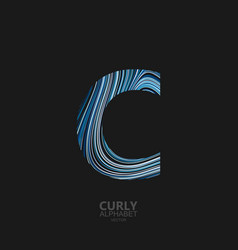curly textured letter c vector image