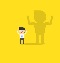 Cute businessman and his shadow with muscle on vector