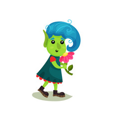 Cute girl troll with blue hair and green skin vector