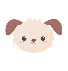 cute little dog face animal cartoon isolated white vector image