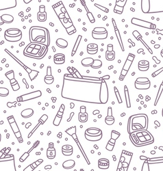 Decorative cosmetics outlined seamless pattern vector