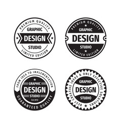 Design graphic badge logo set in retro vector