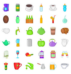 Different drinks icons set cartoon style vector