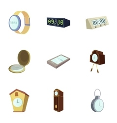 Different slyle of clock icons set cartoon style vector