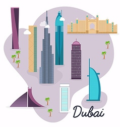 Dubai Travel map and landscape of buildings and vector image