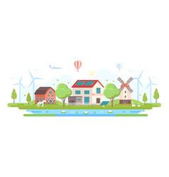 Eco-friendly farm with pond - modern flat design vector