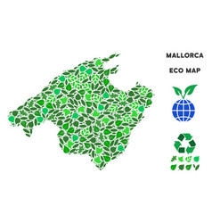Eco green collage spain mallorca island map vector