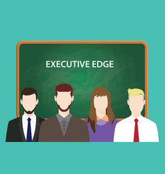 executive edge white text with four vector image