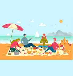 Family picnic on sea shore vector