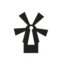 Flat icon in black and white netherlands mill vector