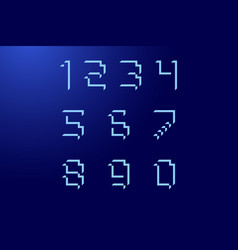 Font numbers cubic with shadows blue color vector