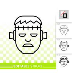 Frankenstein head simple black line icon vector