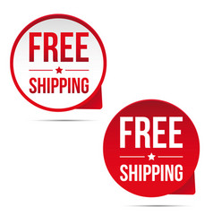 Free shipping button label set vector