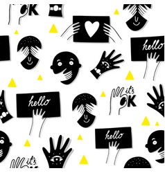 Funnymale faces seamless pattern in black and vector