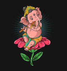 ganeshaganesha playing flute g vector image