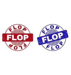 grunge flop scratched round stamp seals vector image