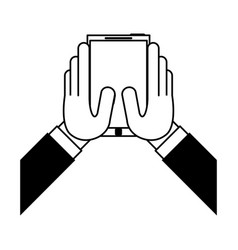 hands holding cellphone icon image vector image