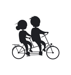 Happy grandparents day senior couple on bicycle vector