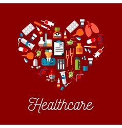 Healthcare flat symbols in a shape of heart vector image