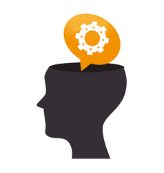 Human profile with gear isolated icon vector