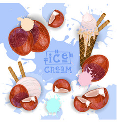 ice cream with coconut taste dessert colorful vector image