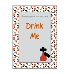 Invitation postcard Drink Me Bottle from vector image