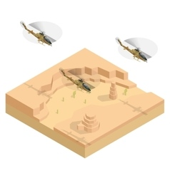 Isometric Military helicopter over the desert vector