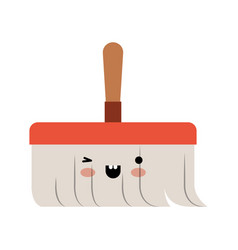 kawaii hand broom with wooden stick in colorful vector image