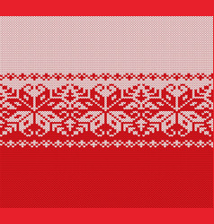 Knitted christmas red and white floral geometric vector