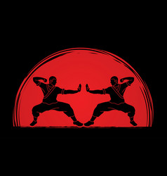 Kung fu action ready to fight designed on sunlight vector