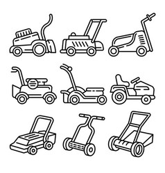 Lawnmower icons set outline style vector