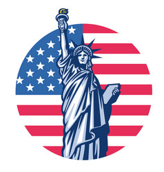 liberty statue with united states flag background vector image