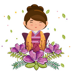 Little japanese girl kawaii with flowers character vector