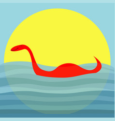 Loch ness nessy fictional creature water monster vector