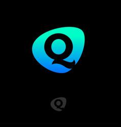 logo q monogram green blue shape web digital vector image